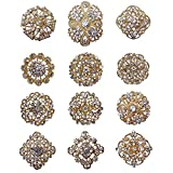 12px Gold Plated Crystal Brooches Flower Floriated Brooch Collar Pin Rhinestone Corsage Bouquet Decor