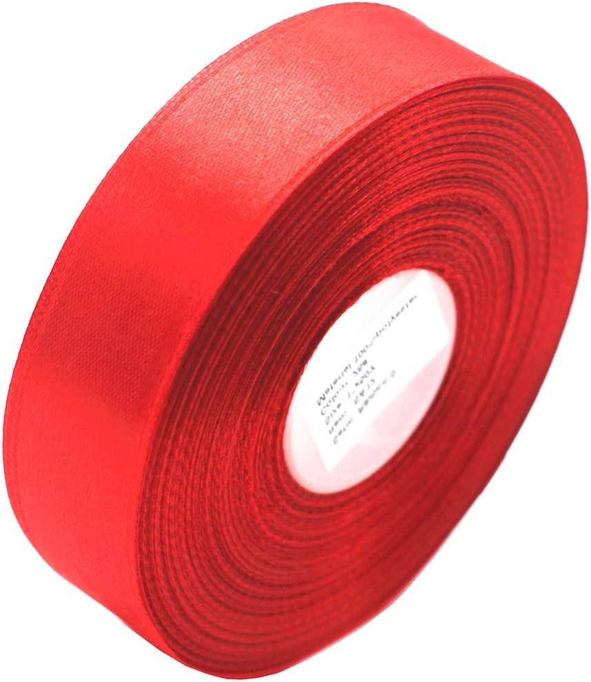 """SWTOOL 1"""" Single Face Satin Ribbon 50 Yards Roll for Wedding Details, Sewing Projects, Gift Wrapping, Invitation Embellishments and Crafting Projects Etc (Red)"""