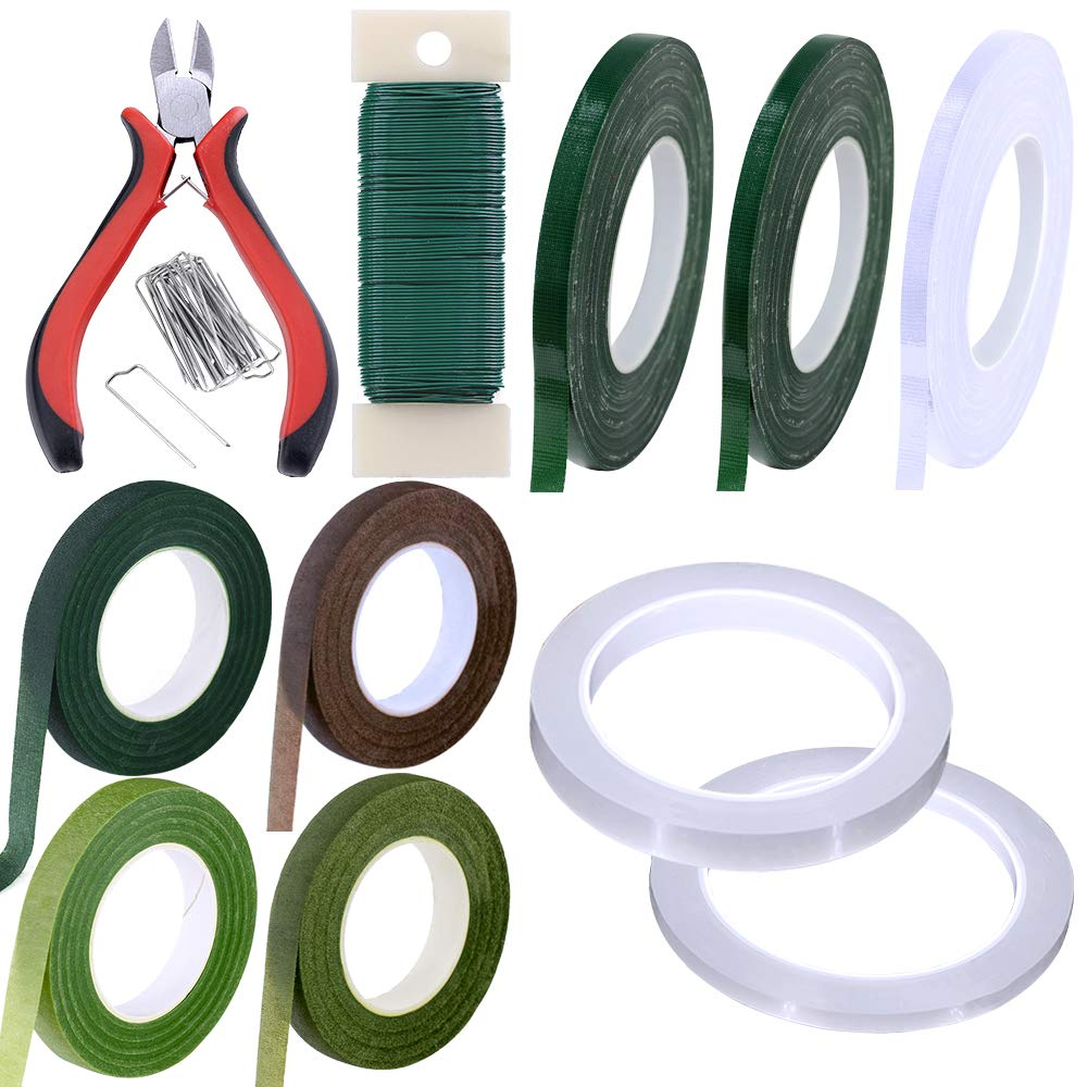 Supla 31 Pack Floral Arrangement Kit Green Brown Clear Floral Tape Waterproof Wire Cutter Stem Wire Floral Wire U Shaped Floral Pins for Bouquet Stem Wrap Florist by Supla