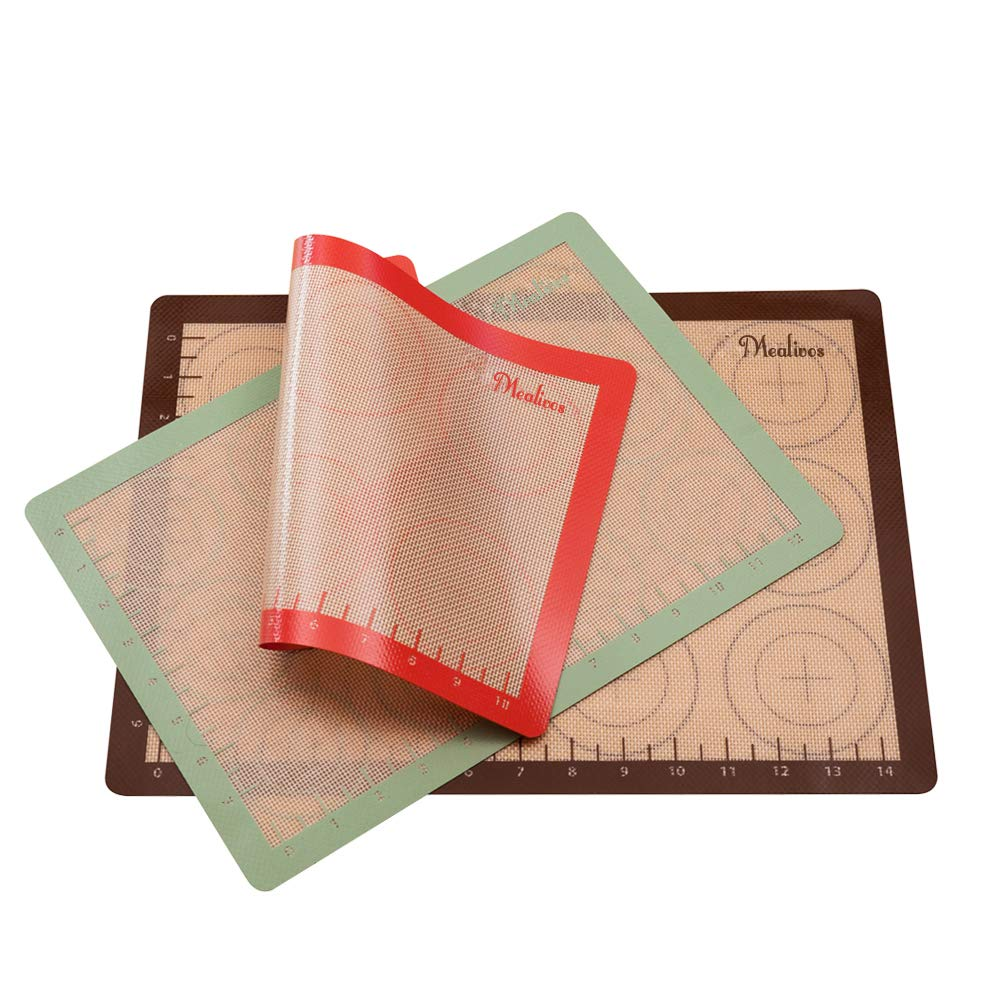 Mealivos Eco-Friendly Silicone Baking Mat, Set of 3 for Half, Quarter and Small Oven Sheet (3)