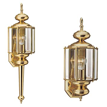 Sea Gull Lighting 8510 02 Outdoor Sconce With Clear Beveled Glass Shades,  Polished Brass