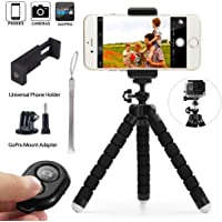 Phone tripod, Aubuytech Octopus Style Portable and Adjustable Camera Stand Holder Stabilizer with Remote and Universal Clip for Digital Product,Phone,GoPro (Small)