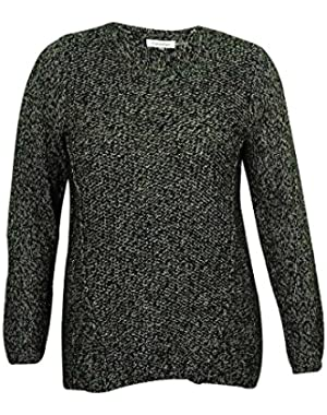 Womens Plus Marled Long Sleeves Pullover Sweater