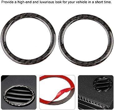 Carbon Fiber Interior Decor,2pcs Air Condition Vent Outlet Ring Decoration Trim Cover for C-Class W204 05-12