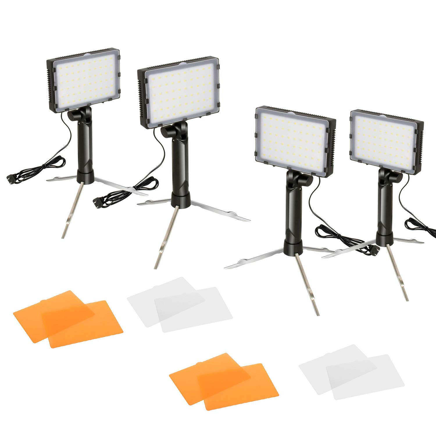 FUDESY Portable Continuous Photography Lighting Kit for Table Top Photo Video Studio Light Lamp, 60 LED Panel Light with Color Filters -4 Sets,FDS60DL4 by FUDESY