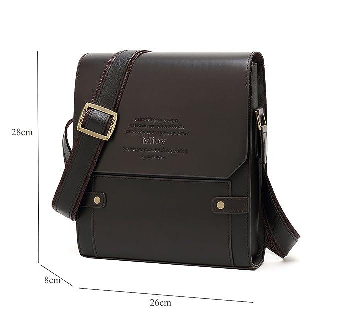 e2996ebe31c2a Mioy Vintage Umhängetasche herren Schultertasche Klein Handtasche Messenger  Bags Herrentasche Leder Mini Ledertasche Crossbody Tasche (Braun)   Amazon.de  ...