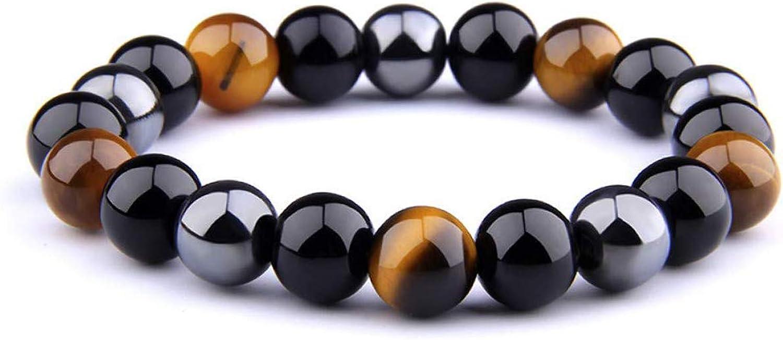 UEUC Pulsera Triple Protección Ojo de Tigre Cuentas de Hematita y Obsidiana Negra