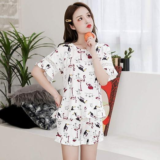 Nuevo Pijama de Pijama de algodón de Manga Corta para Mujer ...