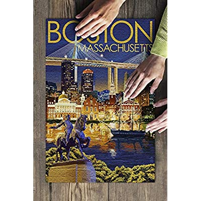 Boston, Massachusetts - Skyline at Night (Premium 500 Piece Jigsaw Puzzle for Adults, 13x19, Made in USA!): Toys & Games