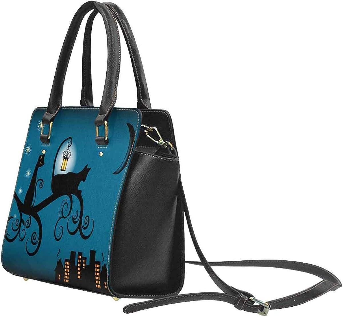 INTERESTPRINT Black Cats Night Cityscape Halloween Theme Shoulder Bags for Women Ladies Crossbody Bag
