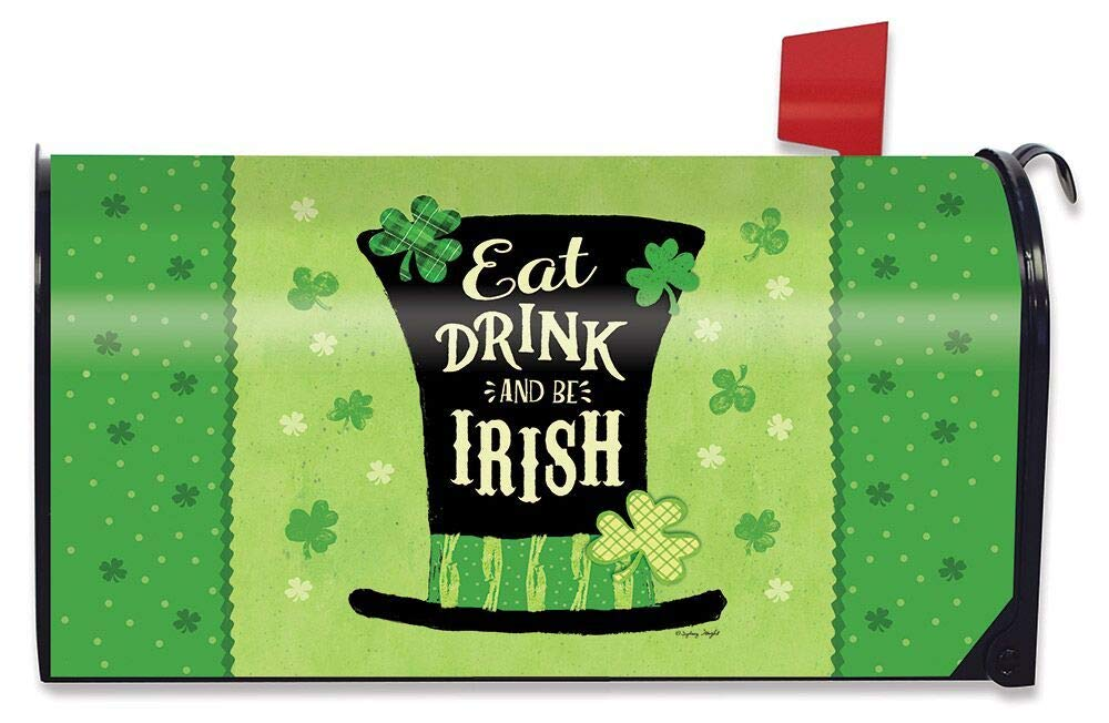 Briarwood Lane Eat Drink and Be Irish Hat Magnetic Mailbox Cover St Patricks Day Standard