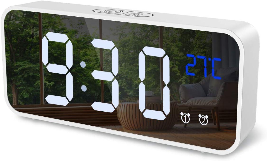 ORIA Digital Alarm Clock, Mirror LED Music Digital Clock, Voice Control, 4 Adjustable Brightness, Dual Alarms, Temperature, Snooze, USB Charging Port for Bedroom, Bedside, Office, Kids, Elderly