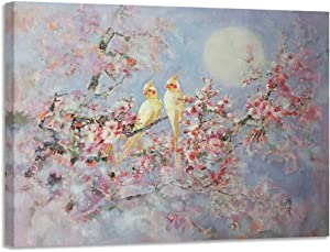 """Canvas Wall Art Bird and Flower Painting Pink Picture Vintage Romantic panel Natural Art Lanscape Painting Print for Bedroom Living Room Kitchen Home Office Large Decor- 40""""x30"""" One Panel, Original Design"""