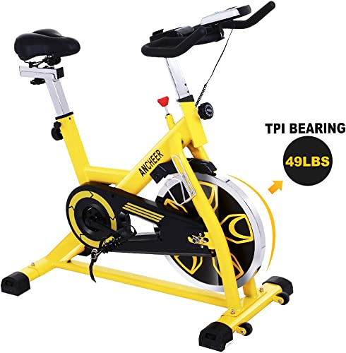 Zafuar Indoor Cycling Bike Stationary – Cycle Bike with LCD Monitor Comfortable Seat Cushion for Home Exercise