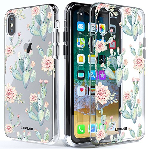 LUOLNH iPhone X Case,iPhone Xs Case with Flowers,Slim Clear Chrome Gold Floral Pattern Soft Flexible TPU Back Cover Case for iPhone X 2017/ iPhone Xs 2018 -B