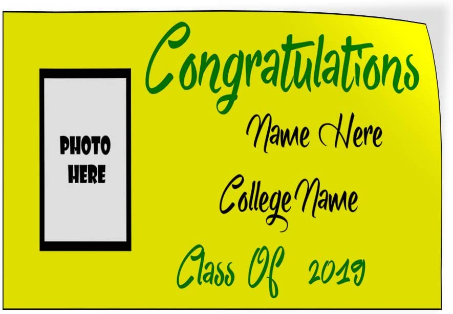 Custom Door Decals Vinyl Stickers Multiple Sizes Congratulations Name College Year Yellow Holidays and Occasions Congratulation Signs Luggage /& Bumper Stickers for Cars Yellow 64X42Inches Set of 2