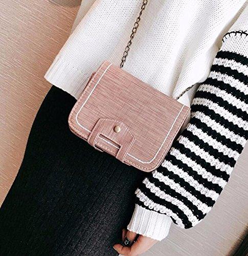 KPHY Moda Hombro Mini Bolso Pequeño Repujados Cadena Bolsa Mochila Todo El Partido.Black Pink
