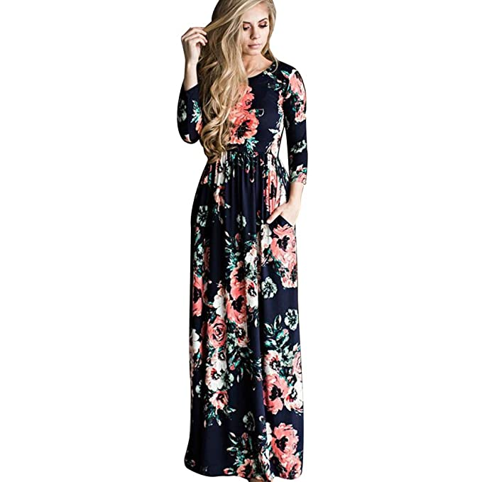Jitong Vestidos Largos de Flores para Mama y Hija, Manga Larga Vestido Bohemio Playa,