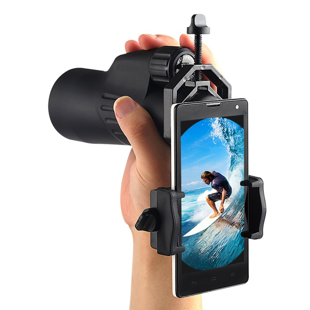 Rumfo Telescope Spotting Scope Mount Holder Microscope Astronomical Adapter Clip Aluminum Binocular Phone Stand for iPhone Samsung Cellphone Support Eyepiece Diameter 25 to 48mm