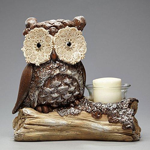 Enesco Snowy Grove Owl on a Log Candleholder, (Snowflake Candle Holders)