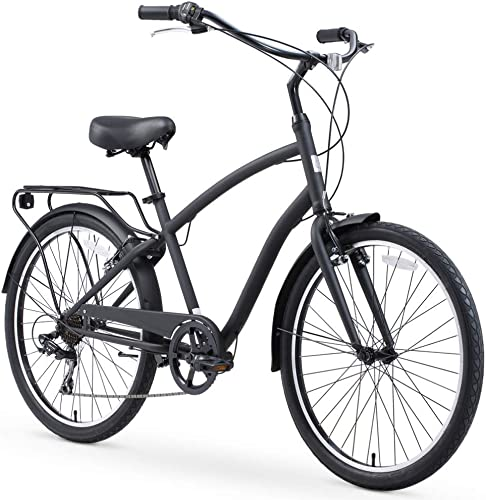 sixthreezero EVRYjourney Steel Men s Hybrid Bike with Rear Rack, 26 Inches, 7-Speed, Matte Black