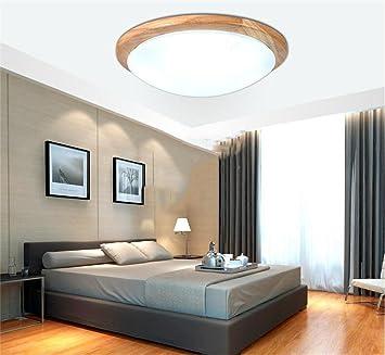 Deko Deckenleuchten Holz Runde LED Deckenleuchte Moderne Minimalistische  Wohnzimmer Schlafzimmer Balkon Gang Chinesische Deckenleuchte