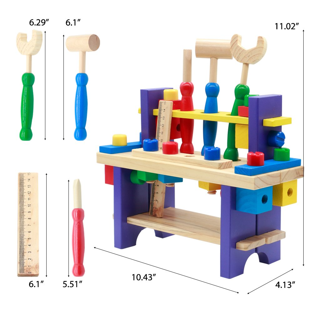 Fajiabao Wooden Kids Workbench Play Set Wooden Tool Set Educational Toys for Toddlers Kids 3 Year and up