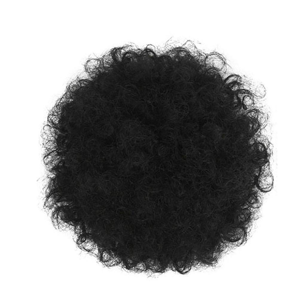 Hot Sale! Kinky Wig For Black Women - Short Afro Wavy Curly Hair Synthetic Fiber Hair Drawstring High Puff Ponytail Hair Extension Afro Bun For Natural Hair (A)
