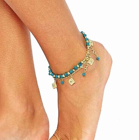 distribuidor mayorista c69c9 3eb19 Tobilleras - Sannysis Tobillera para Mujer tobillo pulsera joyería de pie  (A)