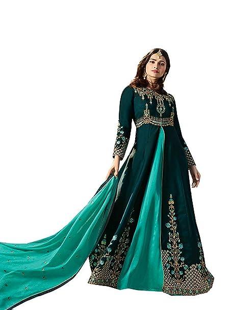 584e02fde8 stylishfashion Salwar Kameez Round Anarkali Designer Embroidered Semi  Stitched Salwar Suit (Purple, X-