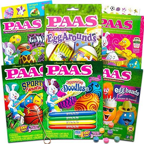 PAAS Easter Egg Decorating Kit Variety Pack -- 6 Deluxe Egg Coloring Kits with Tools and Dye Tablets, No Duplicates (Easter Egg Decorating Supplies).