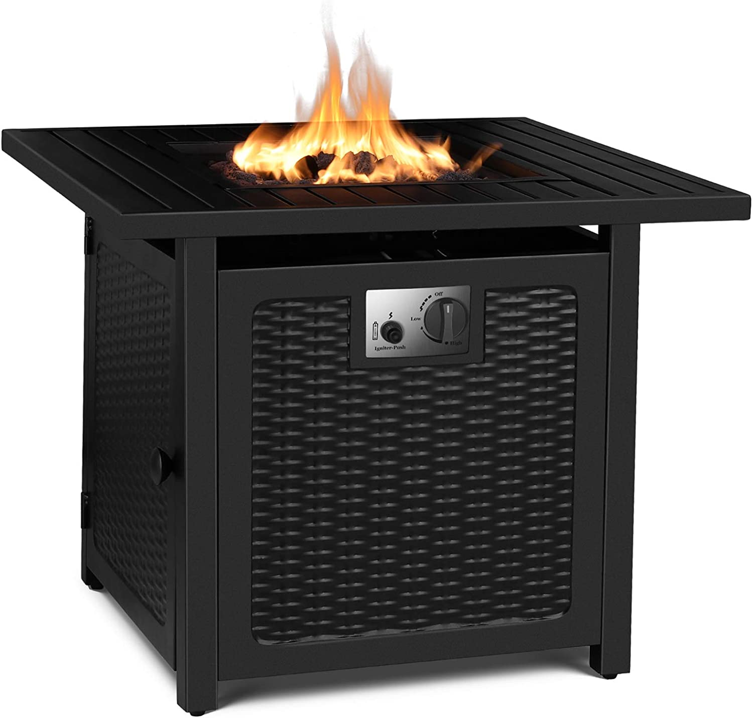 Amazon Com Fixkit 30 Propane Fire Pit Table 50 000 Btu Auto Ignition Gas Fire Table With Waterproof Firepit Table Cover Lava Rock Csa Certification Outdoor Square Fireplace For Courtyard Balcony Garden Outdoor