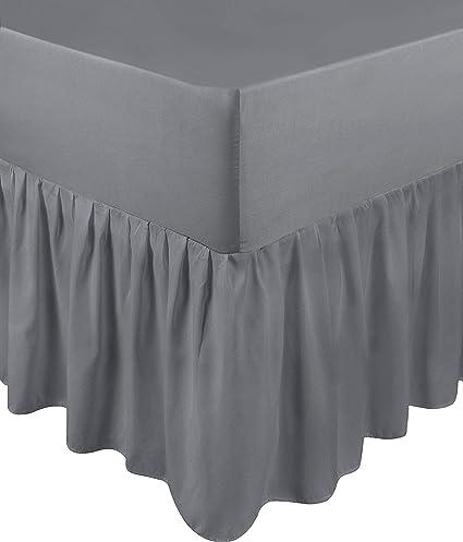 Utopia Bedding Falda De Cama con Volantes - Cama 135 - Extra Profundas (Ajuste De Caja 25 cm + 40 cm Volantes Caída) - (Gris, 135 x 190 cm)
