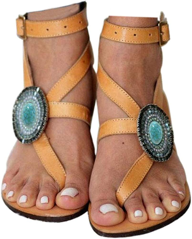 Womens Flat Sandals Beach Open Toe T Strap Flip Flops Soft Sole Shoes Gladiator