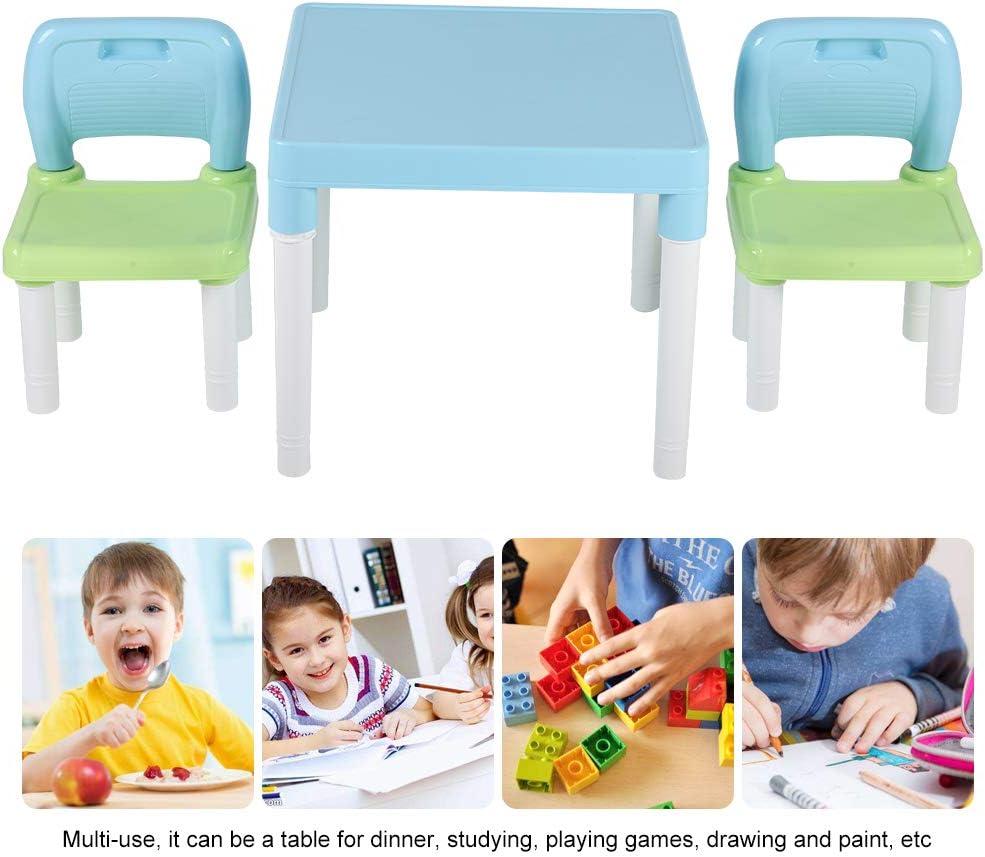 Rosa Tavolino Gioco Bambino e 2 sedie Mobili Soggiorno per Pittura//Lettura//Gioco di Gruppo in Classe e Casa Tavolo per Bambini Multifunzione Tavolino e Sedia Bambini in PP