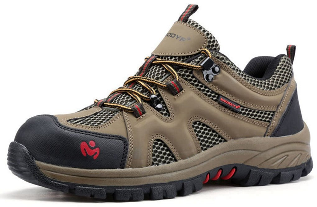 MODYF Men's Work Safety Shoes, Steel Toe Outdoor Puncture Proof Footwear Industrial and Construction Shoe (6, Army Green)