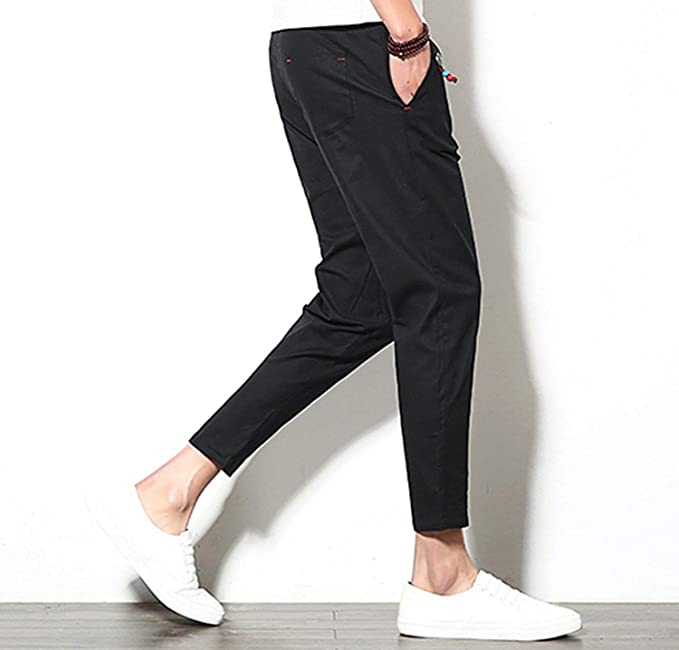 Bluecandy Men Pants Men Ankle Length Linen Overalls Casual Pocket Sport Work Casual Trouser Pant Drawstring