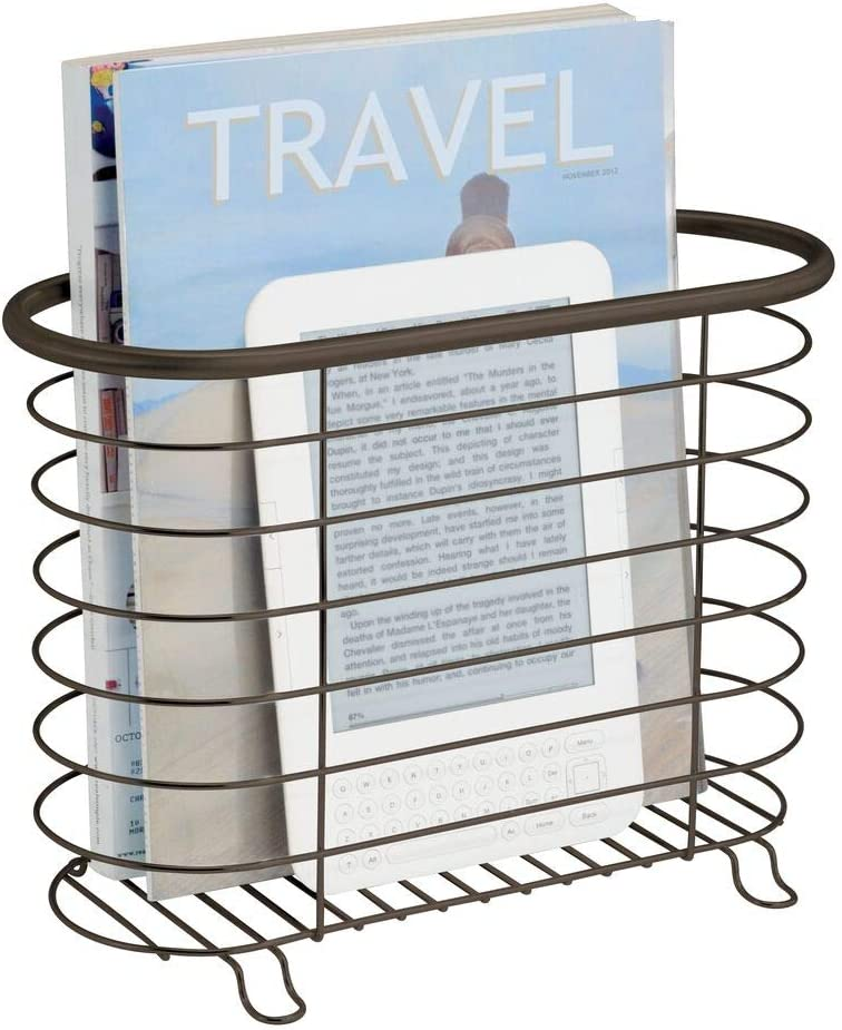 Amazon Com Mdesign Decorative Metal Farmhouse Magazine Holder And Organizer Bin Standing Rack For Magazines Books Newspapers Tablets In Bathroom Family Room Office Den Bronze Home Kitchen