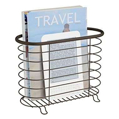mDesign Newspaper and Magazine Rack for Bathroom, Office, Den - Bronze