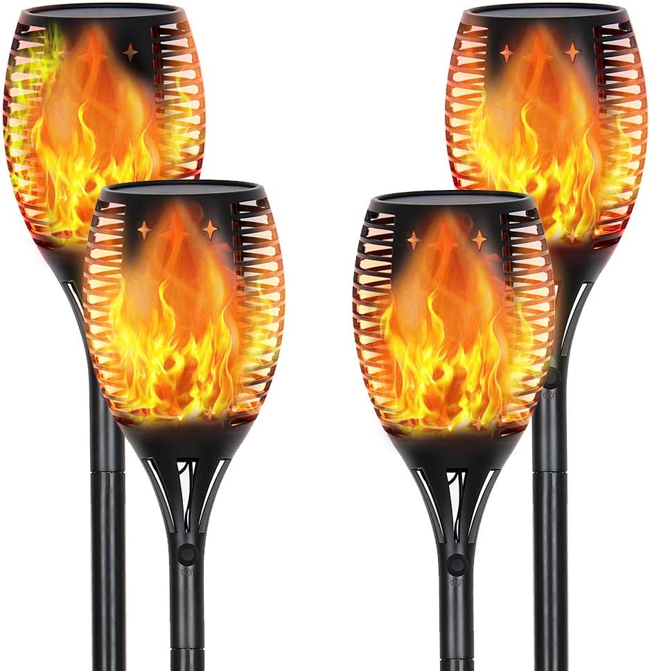 CASAVIDA Solar Torch Lights Outdoor, Waterpoof Landscape Garden Pathway Lights with Vivid Dancing Flickering Flames, Dusk to Dawn Auto On/Off Security Light for Deck Yard Driveway, (4Pack)