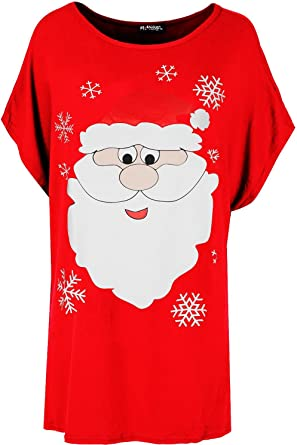 New Womens Ladies Christmas Xmas Reindeer Baggy Oversize Batwing T Shirt Tee Top
