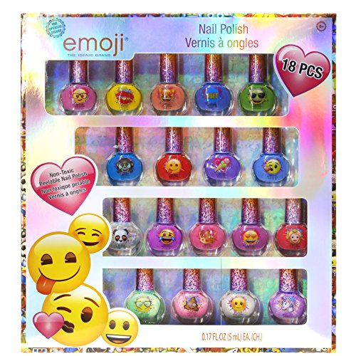 (Townley Girl Emoji Super Sparkly Peel-Off Nail Polish Deluxe Present Set for Girls, 18)