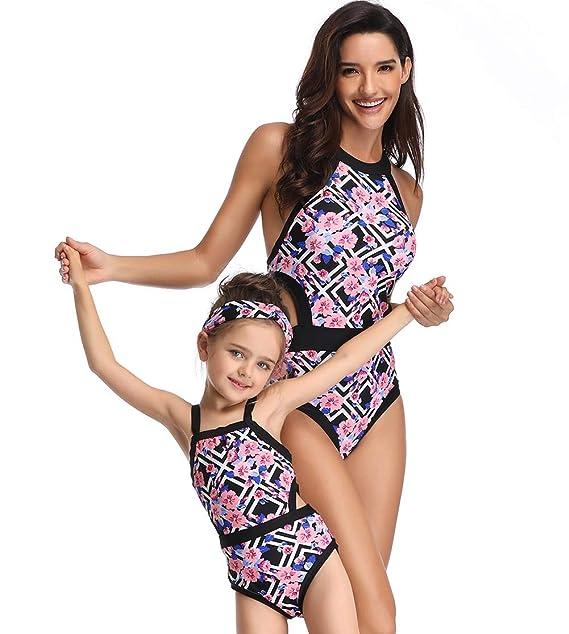 014c0d563c74e Happy Cherry Mother Girl One Piece Swimsuit Floral Print Monokinis Bathing  Suit S Black
