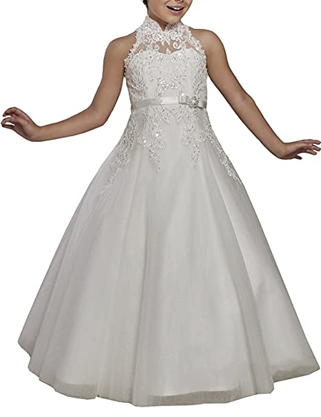 Amazon.com: hengyud Girls Halter for Wedding Appliqued Flower Girl Dresses Long First Communion Gown 178: Clothing