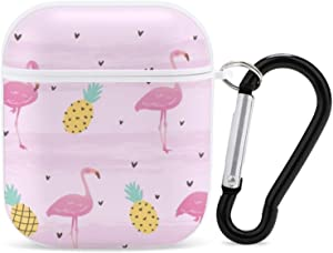 Flamingo Floral Bunny Simple Cute AirPods Case with Keychain for Apple Airpod Case 2&1 [Front LED Visible]