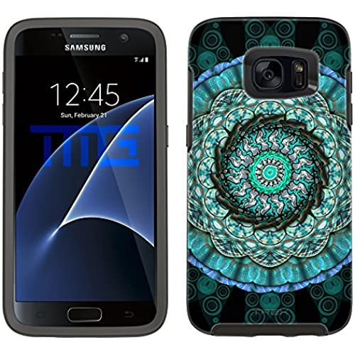Skin Decal for Otterbox Symmetry Samsung Galaxy S7 Edge Case - Mandala Circles Aqua Blue on Black Sales