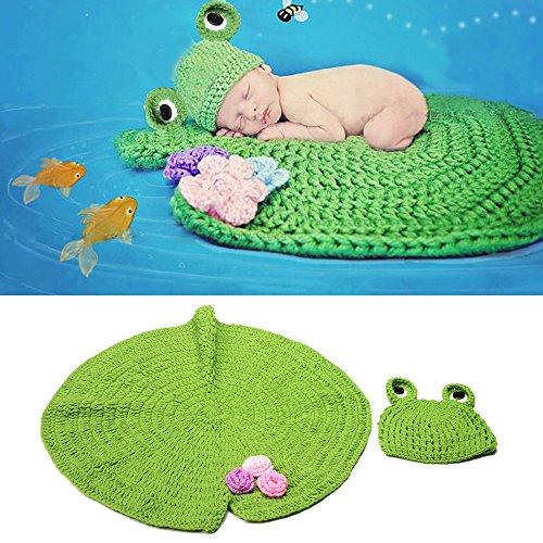 yazi Newborn Baby Photography Props Green Frog Hat Lotus Leaf Blanket Crochet Easter Costume