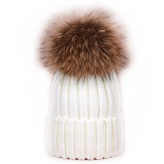 Womens Girls Winter Real Large Raccoon Fur Pom Pom Knit Beanie Hats Black  Friday 3a1c48ad08ef