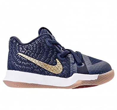 super popular 1238b e8cce Nike Kyrie 3 Obsidian Toddler Infant Boys Shoe Obsidian Summit  White Metallic Gold (