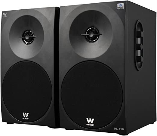 Woxter Dynamic Line 410 BT – Altavoces estéreo 2.0 150W de potencia,BLUETOOTH, Madera, Woofer de 4 pulgadas, 2 Tweeter, 3.5 mm, RCA, Control volumen, agudos, graves, Bookself Speakers, color Negro